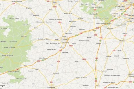 Carte des environs Senonche, Dourdan, Rambouillet, Chateaudun, Nogent le Rotrou