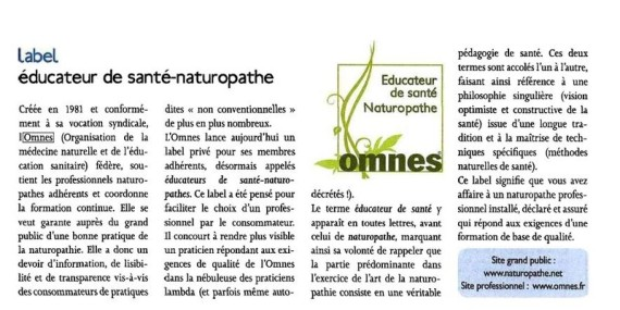 label OMNES educateur de santé naturopathe